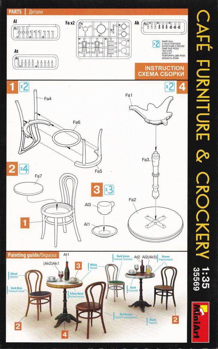 MiniArt-35569-Cafe-Furniture-and-Crockery-10 Café Furniture and crockery von MiniArt in 1:35 ( # 35569 )