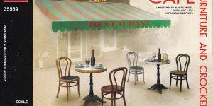 Café Furniture and crockery von MiniArt in 1:35 ( # 35569 )