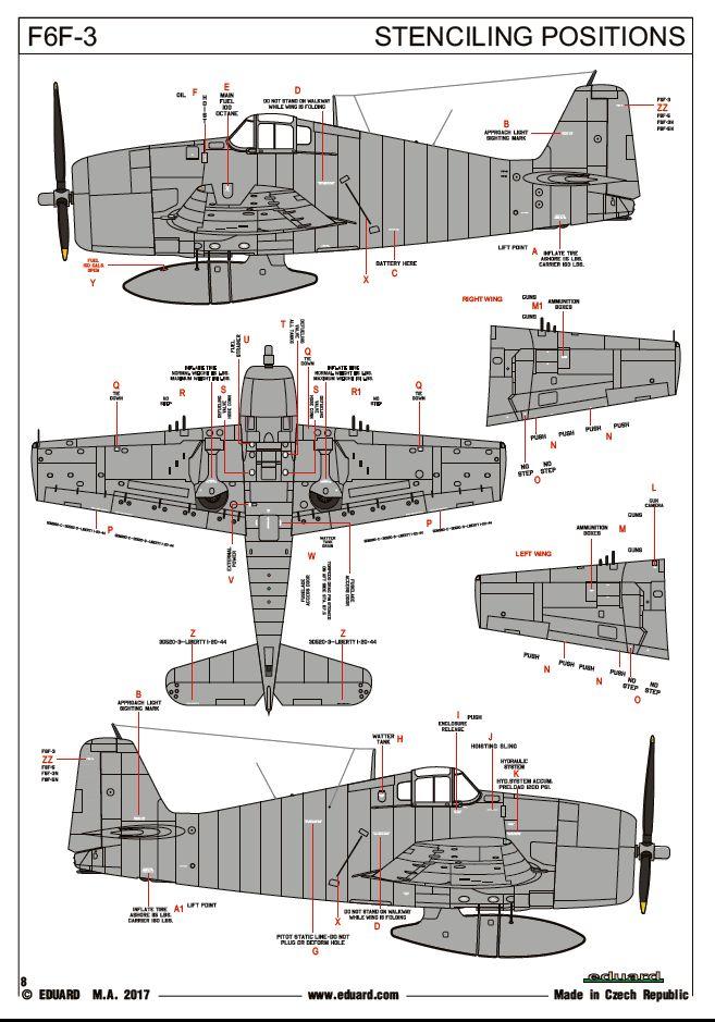 Eduard-7441-F6F-3-Hellcat-stencils F5F-3 Hellcat WEEKEND von Eduard 1:72 #7441