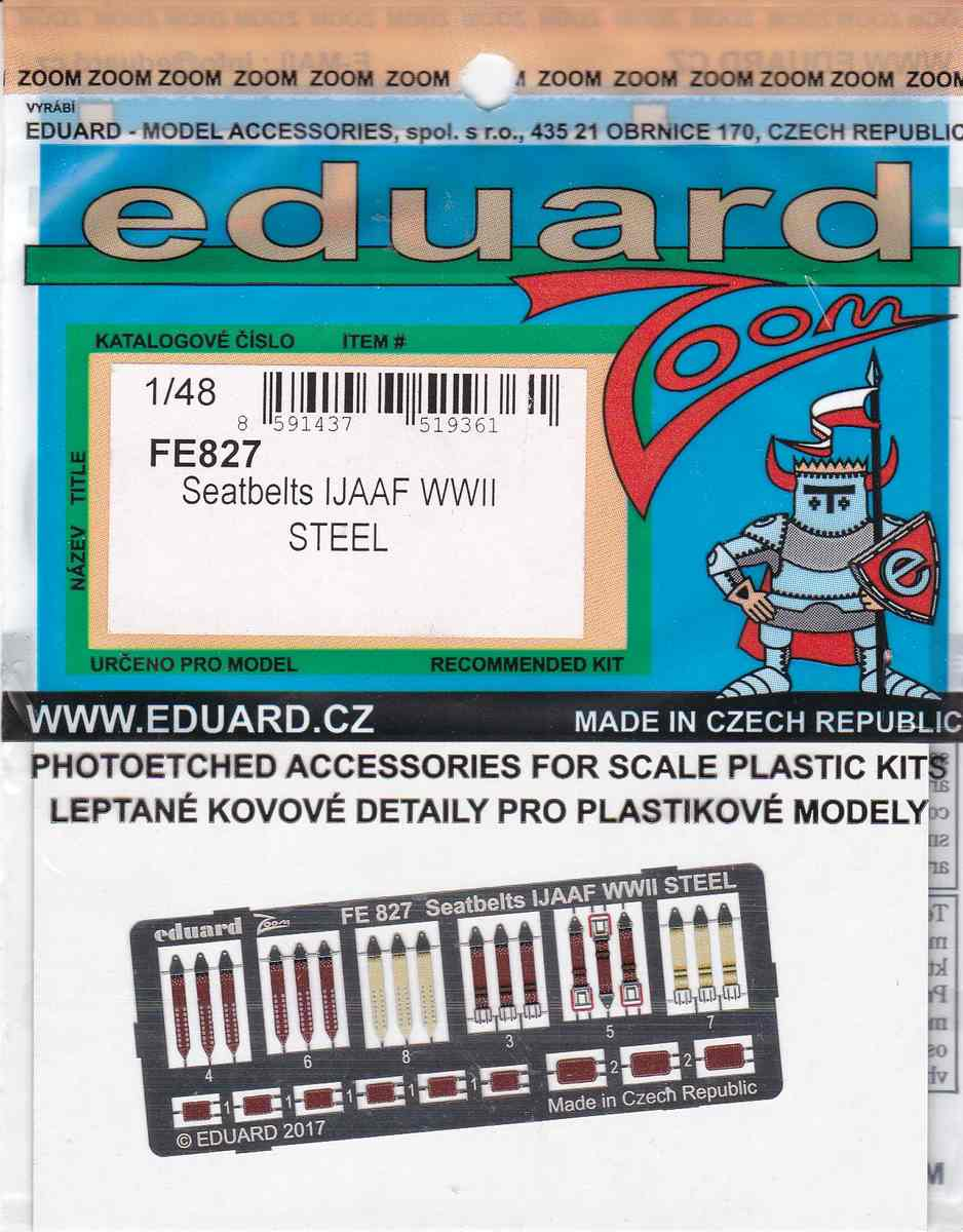 Eduard-FE-827-Seatbelts-IJAAF-WW-II-STEEL-1zu48-Blister Sitzgurte STEEL IJAAF WW II in 1:48 und 1:72 von Eduard --- FE 827 und SS 590