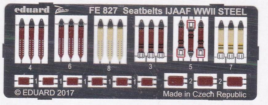 Eduard-FE-827-Seatbelts-IJAAF-WW-II-STEEL-1zu48-Platine Sitzgurte STEEL IJAAF WW II in 1:48 und 1:72 von Eduard --- FE 827 und SS 590