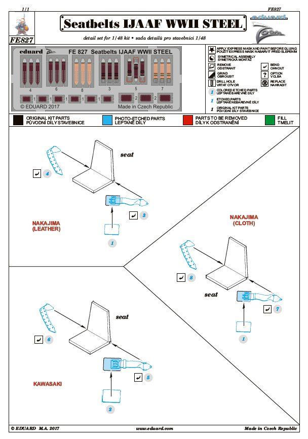 Eduard-FE-827-Seatbelts-IJJAAF-WW-II-STEEL-1zu48 Sitzgurte STEEL IJAAF WW II in 1:48 und 1:72 von Eduard --- FE 827 und SS 590