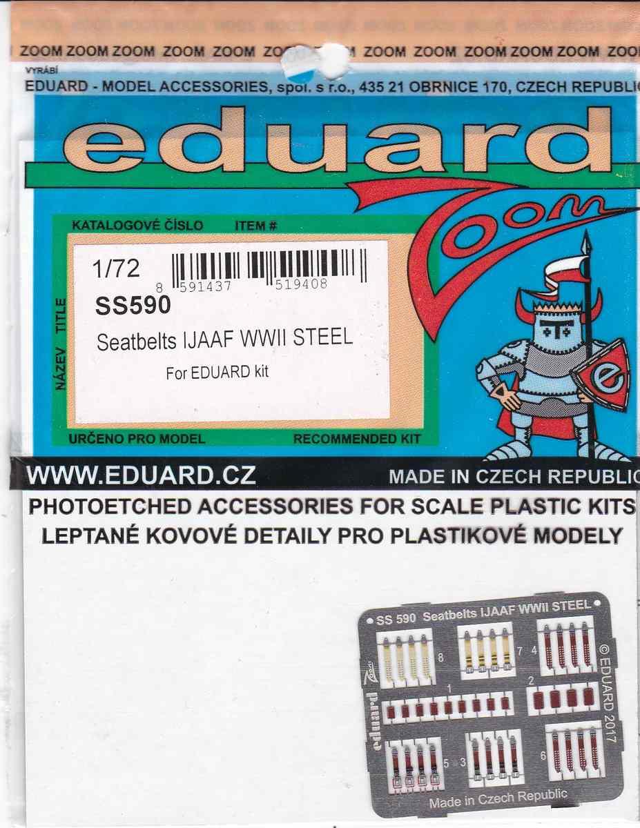 Eduard-SS-590-Seatbelts-IJAAF-WW-II-STEEL-1zu72-1 Sitzgurte STEEL IJAAF WW II in 1:48 und 1:72 von Eduard --- FE 827 und SS 590