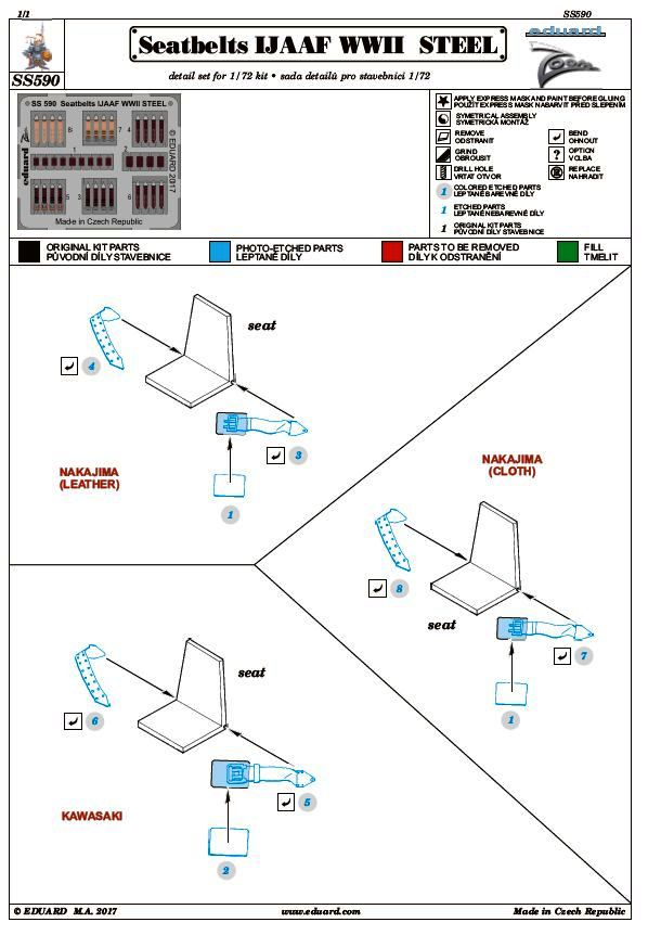 Eduard-SS-590-Seatbeltzs-IJAAF-WW-II-STEEL-1zu72 Sitzgurte STEEL IJAAF WW II in 1:48 und 1:72 von Eduard --- FE 827 und SS 590