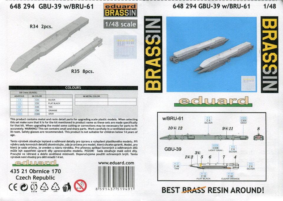 Eduard_GBU-39_09 GBU-39 (präzisionsgelenkte Bombe) - Eduard BRASSIN 1/48 --- 648 294