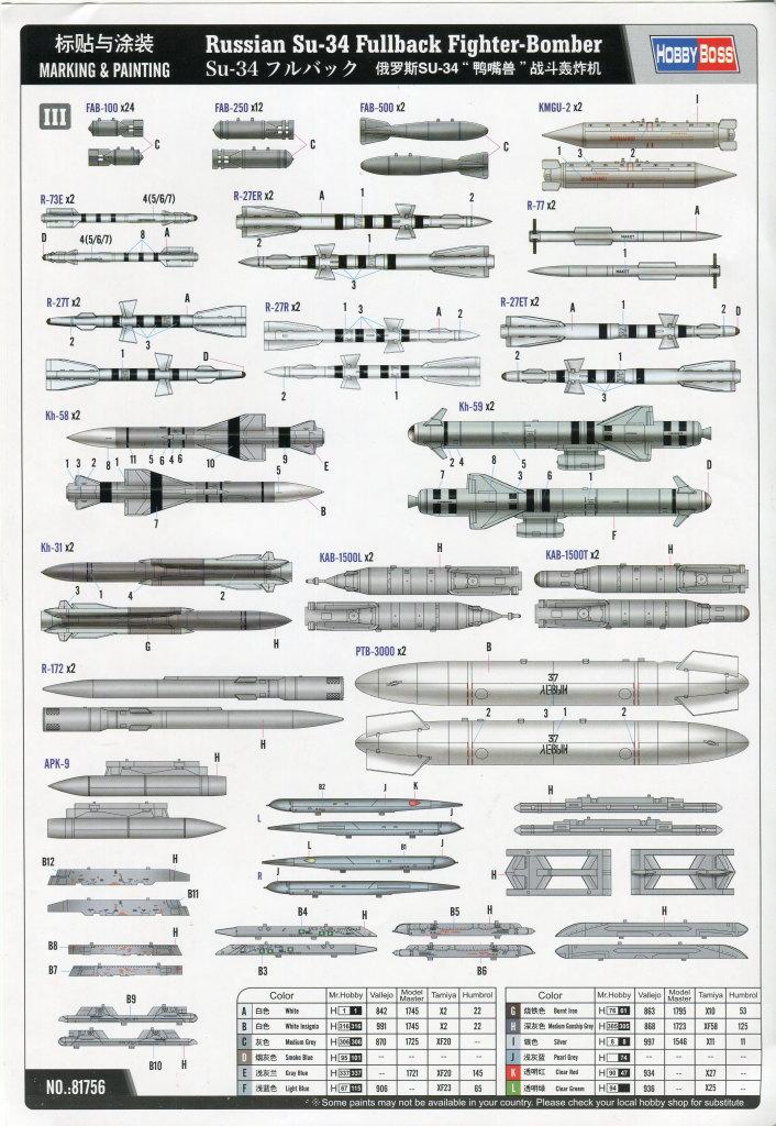 HobbyBoss_Su-34_099 Su-34 Fullback Fighter-Bomber - Hobby Boss 1/48  ---  #81756