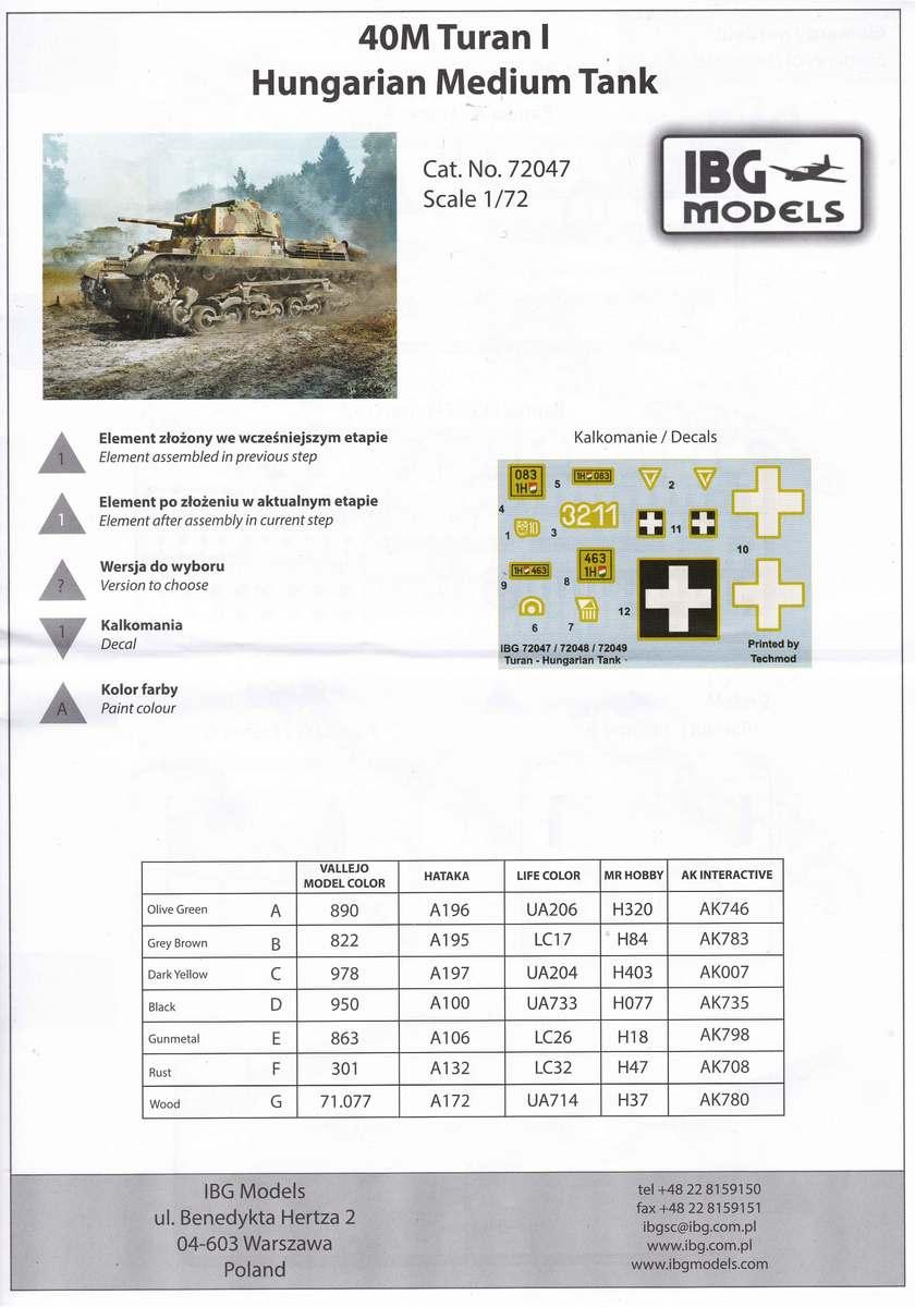 IBG-72047-40M-Turan-I-28 ungarischer Panzer 40M Turan I von IBG in 1:72 (72047)