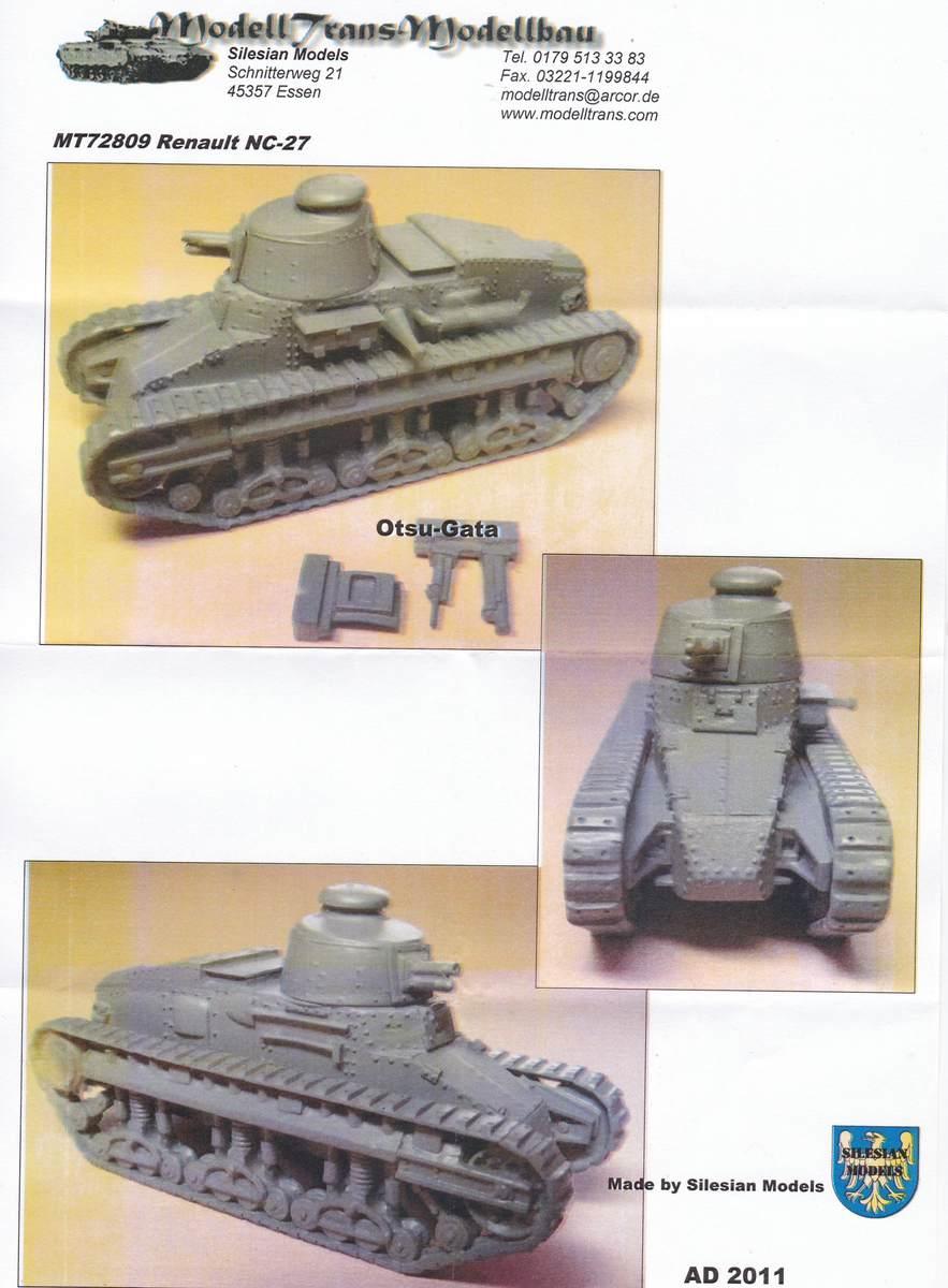Modell-Trans-MT-72809-Renault-NC-27-Otsu-Gata-11 Renault NC-27 und Otsu-Gata in 1:72 von ModellTrans # 72809
