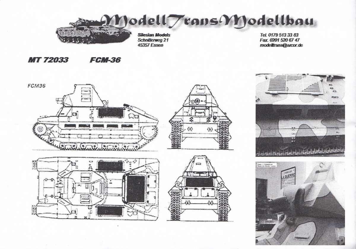 ModellTrans-MT-72033-FCM-36-10 französischer Panzer FCM 36 von ModellTrans 1:72