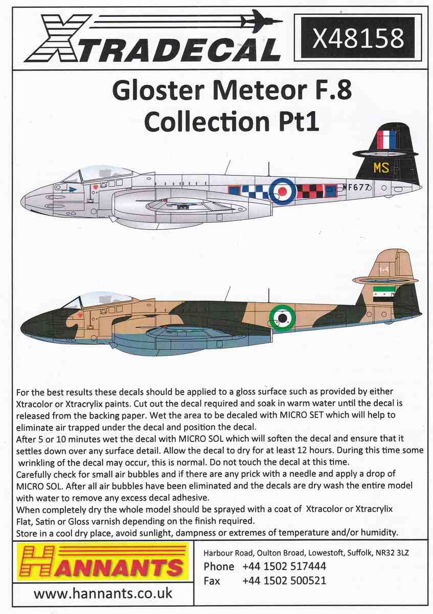 XTRADecal-X48158-Gloster-Meteor-F.8-Collection-Pt-1 Gloster Meteor F.8 Collection Part 1 von XTRADECAL Artikelnummer  X 48158