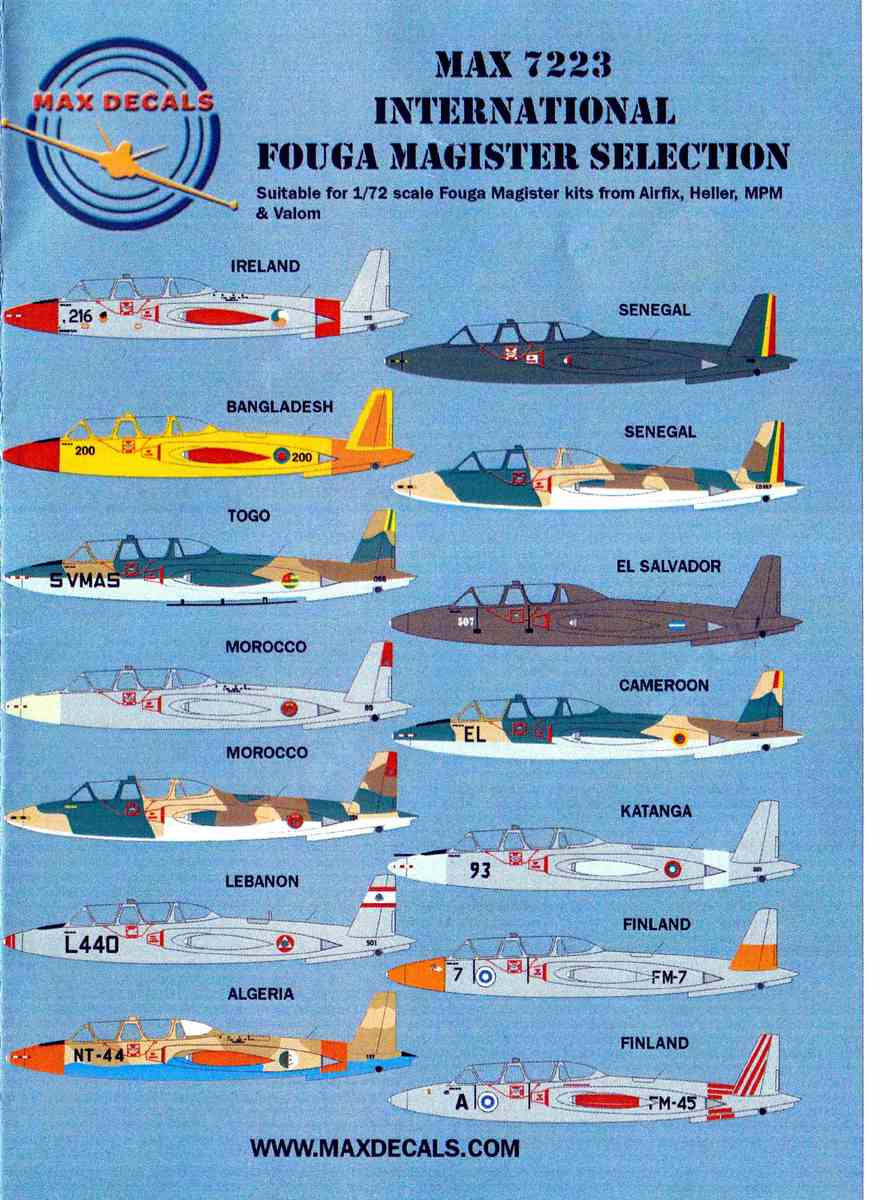 MaxDecals-MAX-7223-International-Fouga-Magister-1 International Fouga Magister Selection 1:72 von Max Decals ( # MAX 7223 )