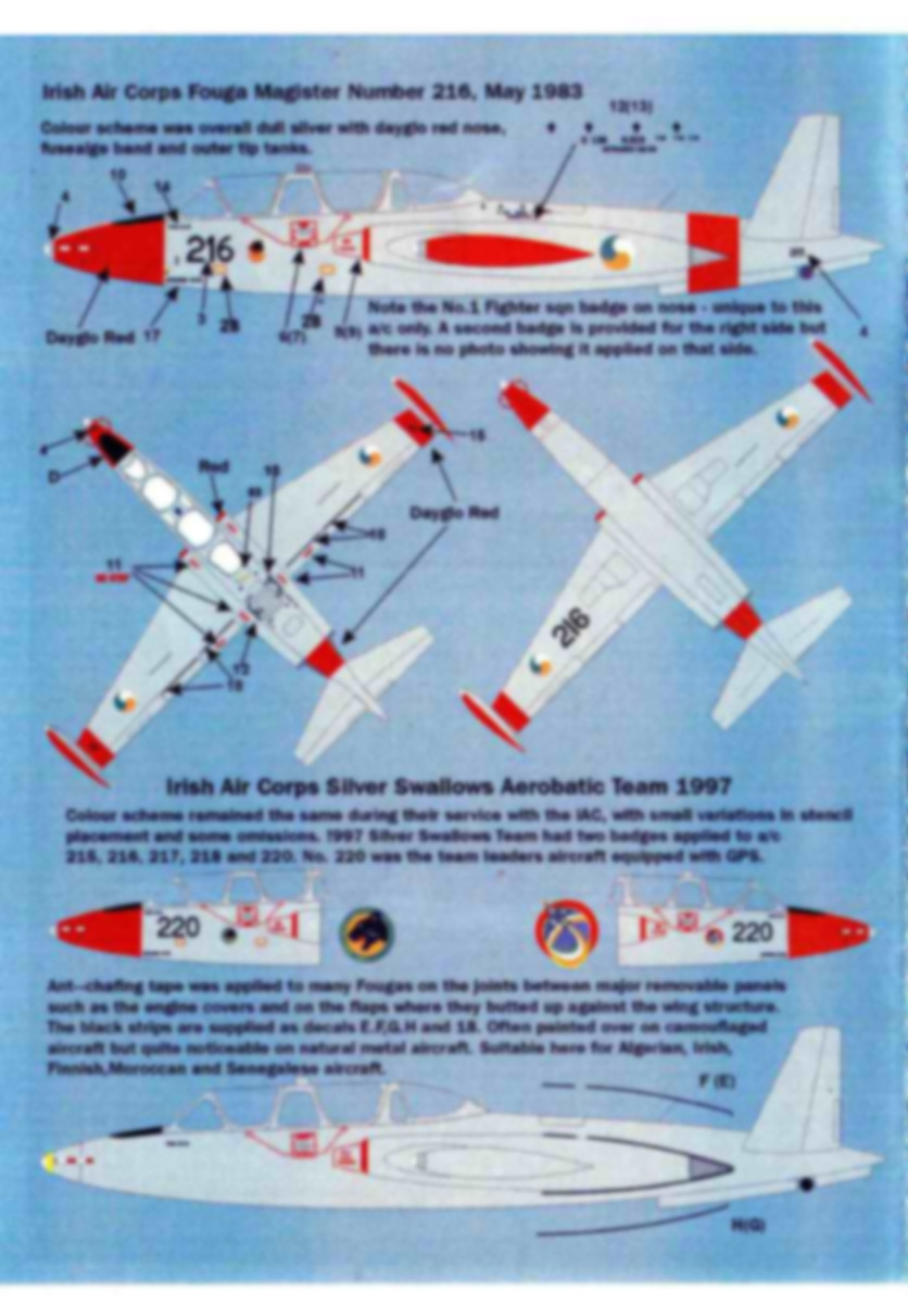 MaxDecals-MAX-7223-International-Fouga-Magister-2 International Fouga Magister Selection 1:72 von Max Decals ( # MAX 7223 )