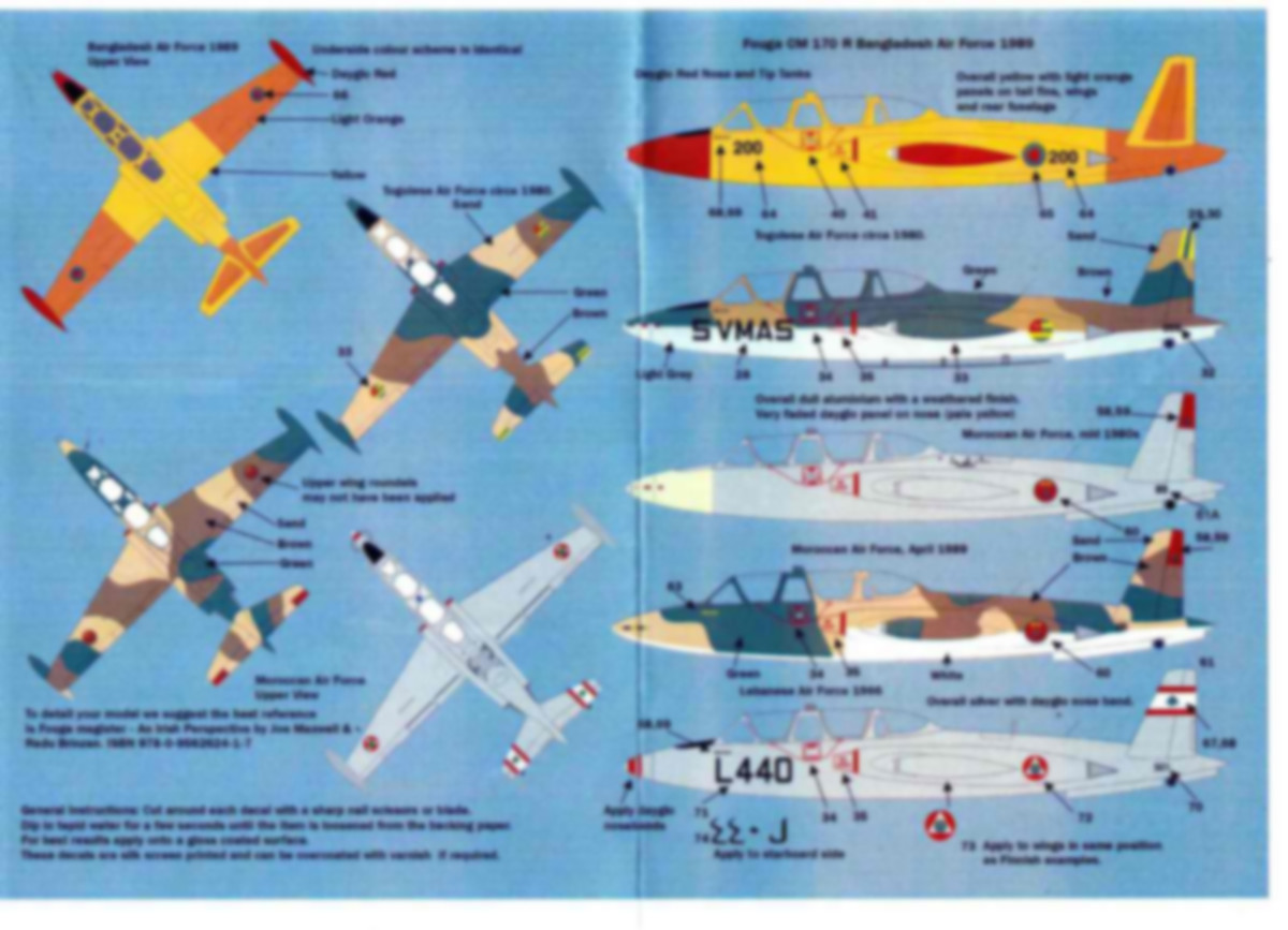 MaxDecals-MAX-7223-International-Fouga-Magister-3 International Fouga Magister Selection 1:72 von Max Decals ( # MAX 7223 )