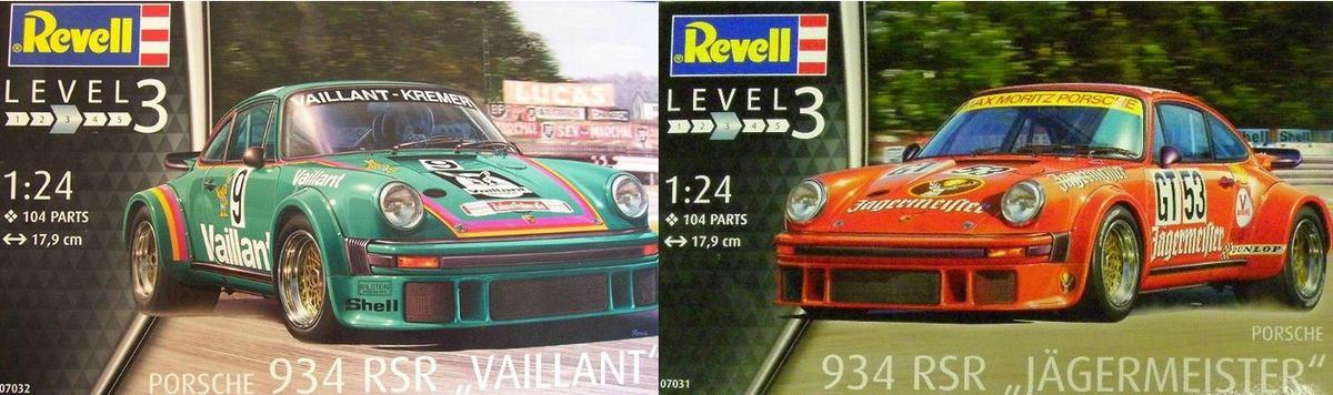 REvell-Porsche-934-RSR-Kombibild Porsche 934 RSR Jägermeister / Vaillant von Revell in 1:24