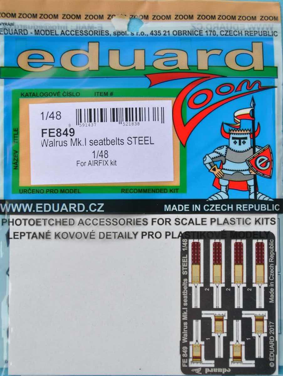 Eduard-FE-849-Walrus-Mk.-I-Seatbelts-2 Eduard-Zubehör für die neue 48er Walrus von Airfix