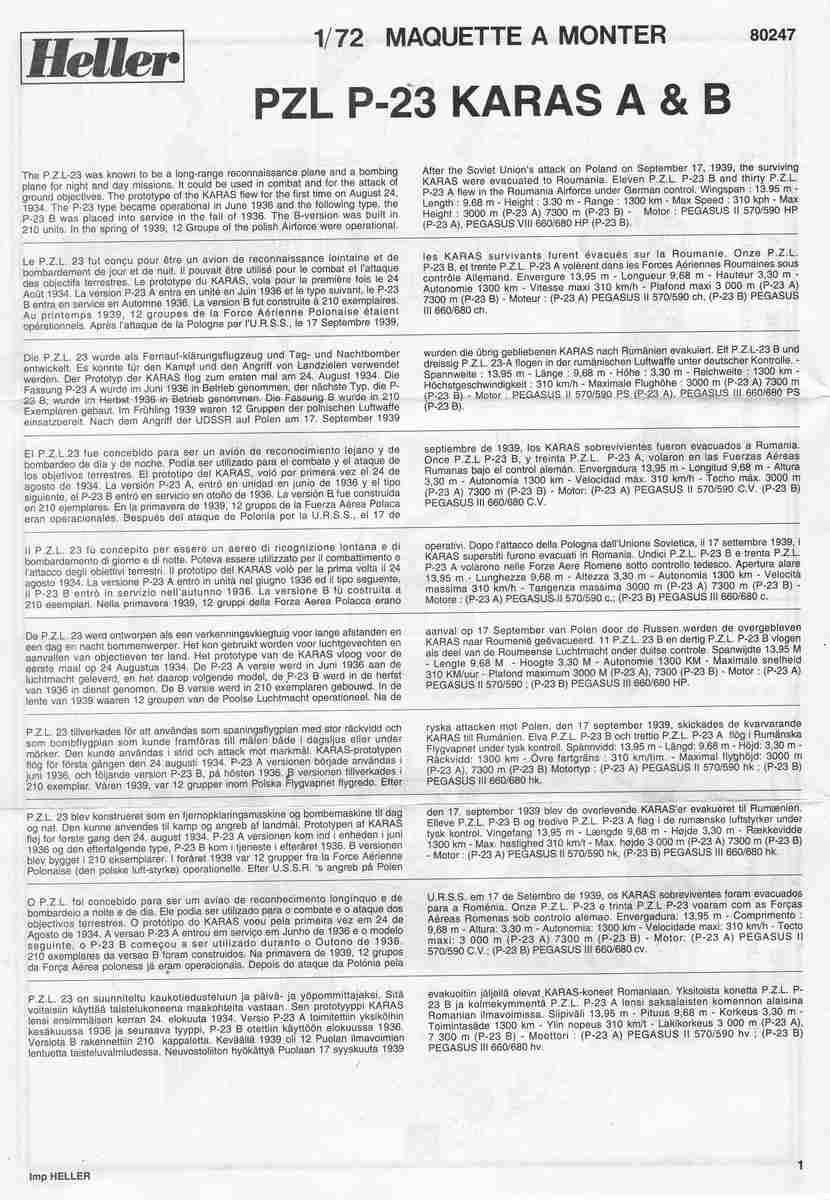 Heller-80247-PZL-P.23-Karas-28 Kit-Archäologie: PZL P.23 Karas A und B von Heller ( 1:72)
