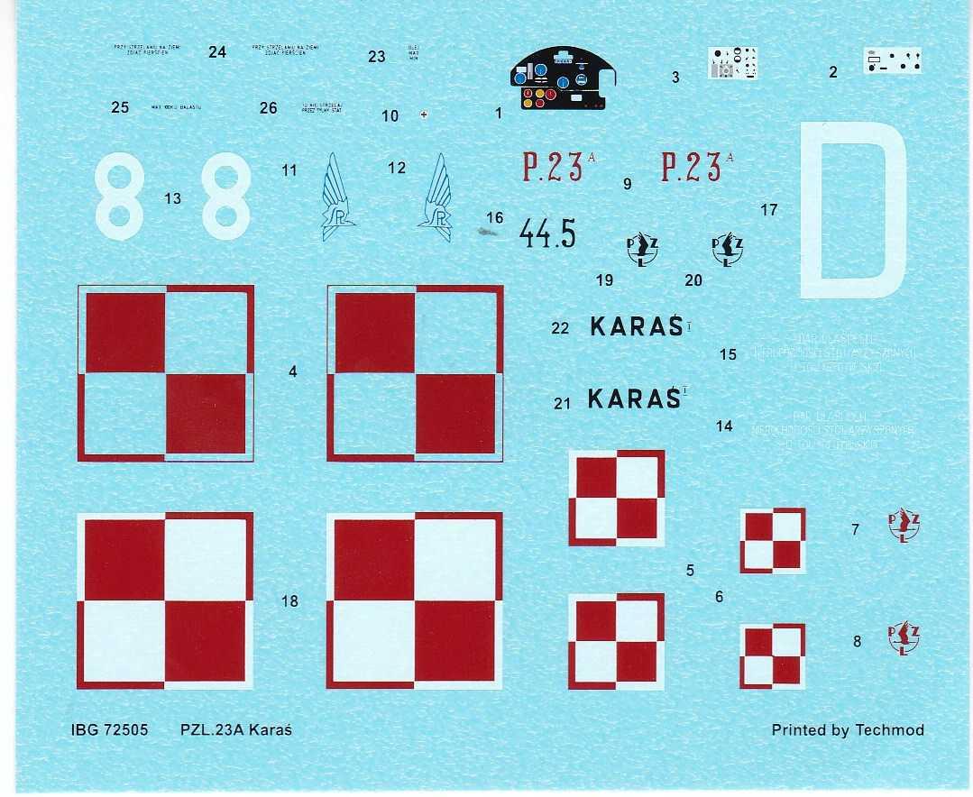 IBG-72505-PZL-P-23A-Karas-45 PZL P.23 Karas im Maßstab 1:72 von IBG # 72505