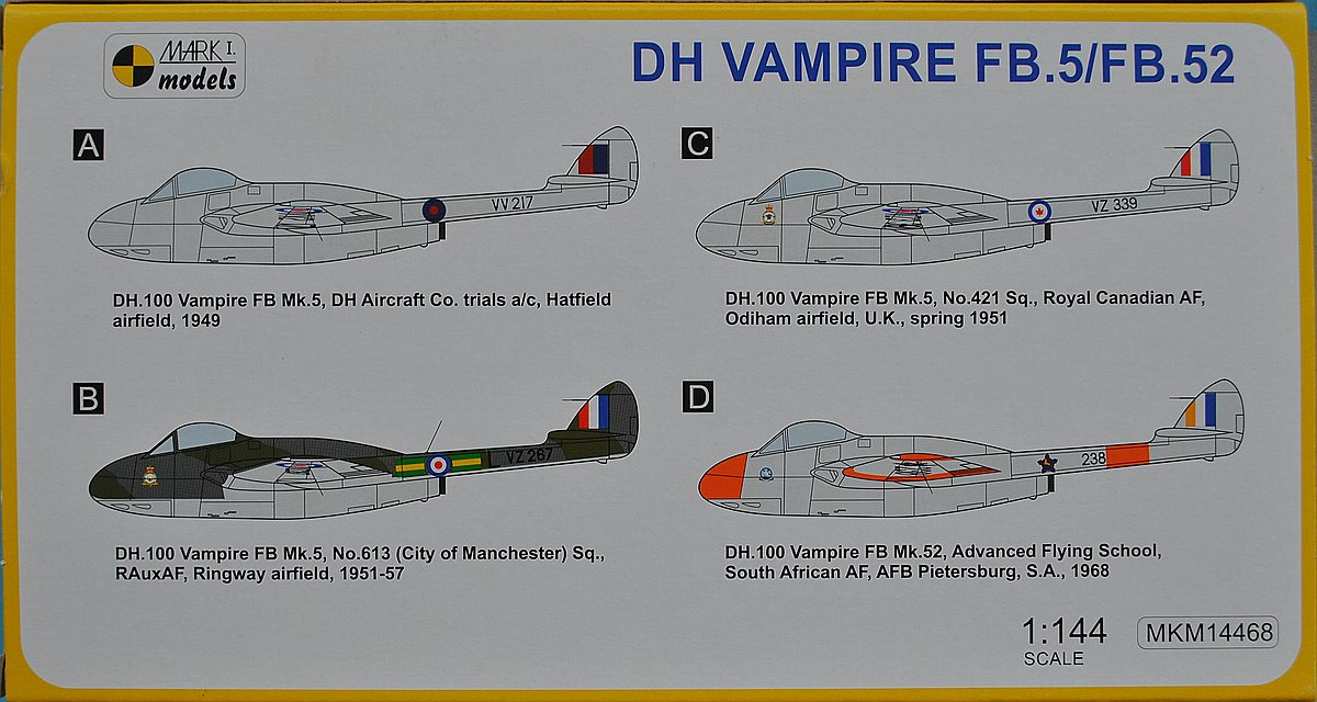 MKM-14468-Vampire-Commonwealth-service-24 deHavilland Vampire in Commonwealth Service (Mark One 1:144)