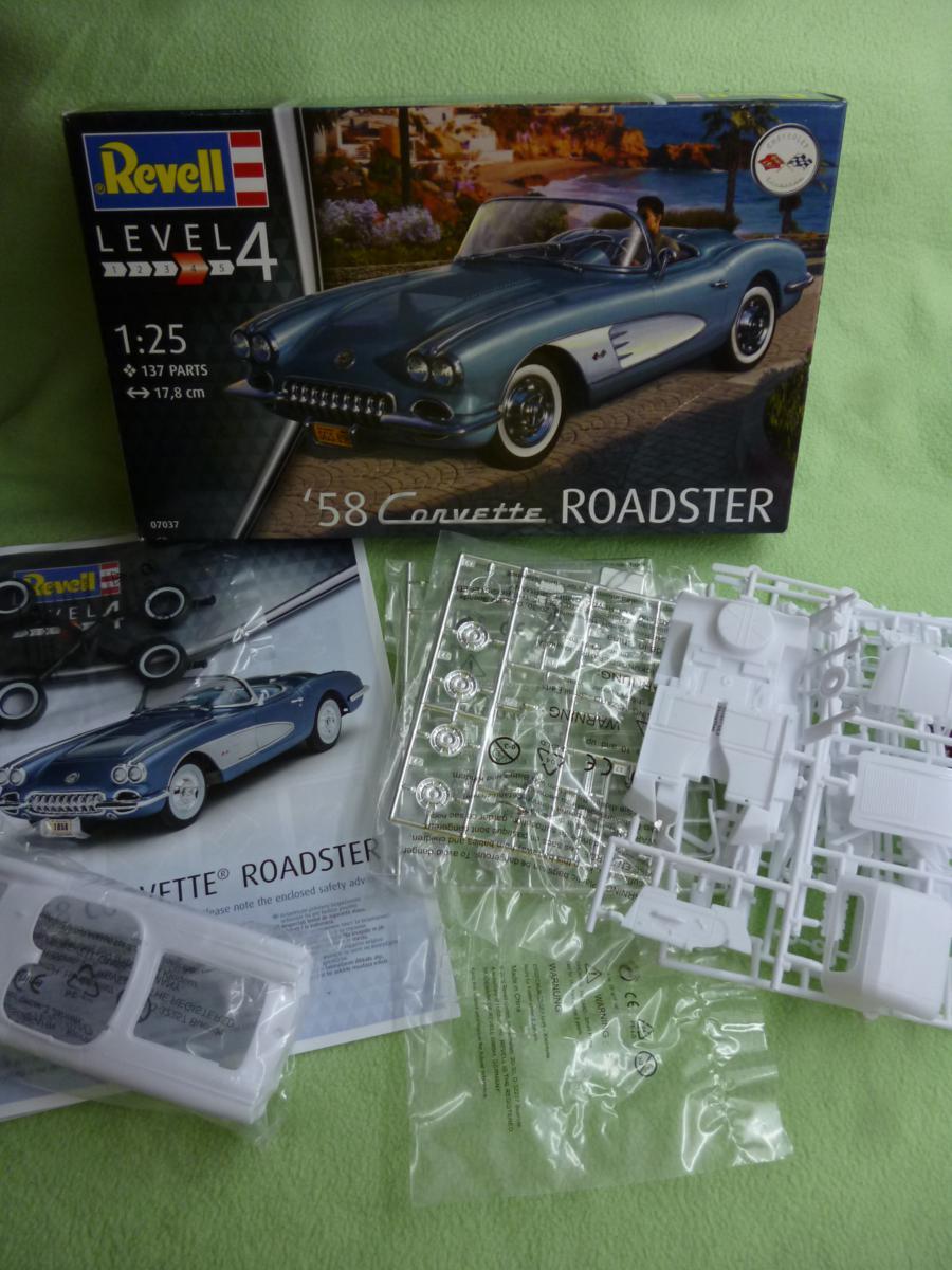 Revell-07037-58-Corvette-Roadster-02 `58 Corvette Roadster im Maßstab 1:25 von Revell (# 07037 )