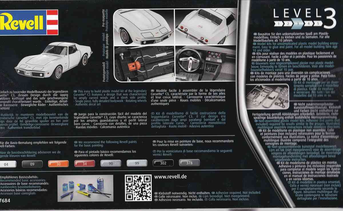 Revell-07684-Corvette-C3-1zu32-16 Corvette C3 im Maßstab 1:32 von Revell ( # 07684)