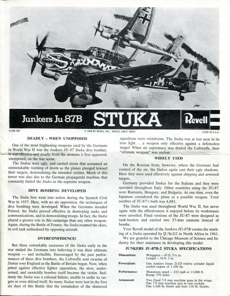 Revell_Stuka_22 Kit-Archäologie: Die Stuka Junkers Ju-87B von Revell - 1/32 - 1969