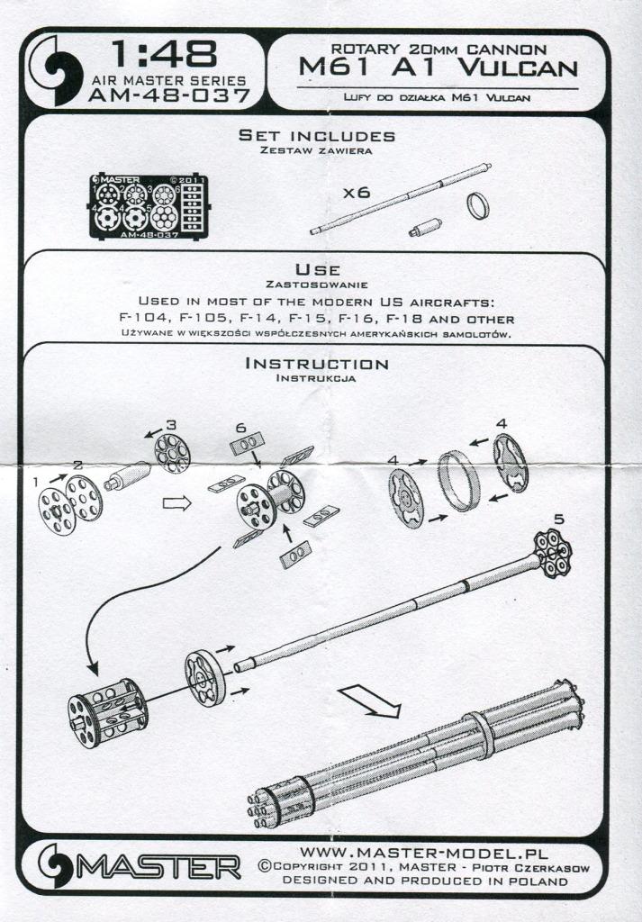 Master_M-61_07 M61 A1 Vulcan Gun - Master Model 1/48