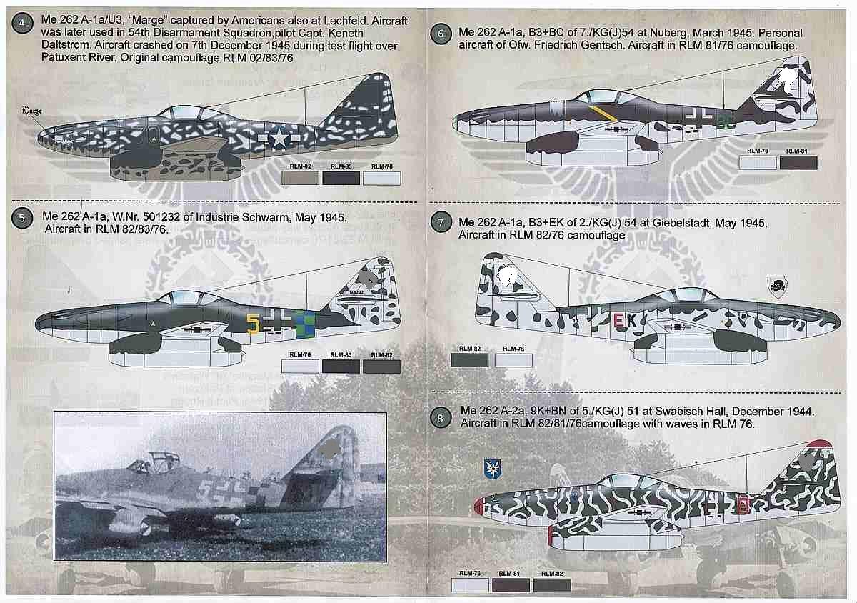 PrintScale-72125-Me-262-Schwalbe-1 Messerschmitt Me 262 Schwalbe in 1:72 von PrintScale ( 72-125 )
