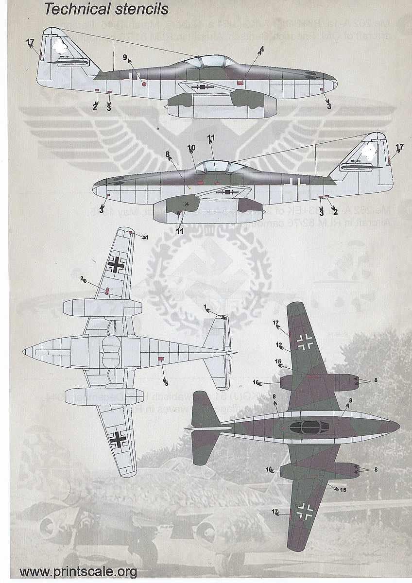 PrintScale-72125-Me-262-Schwalbe-2 Messerschmitt Me 262 Schwalbe in 1:72 von PrintScale ( 72-125 )
