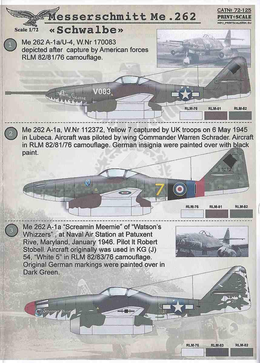 PrintScale-72125-Me-262-Schwalbe-3 Messerschmitt Me 262 Schwalbe in 1:72 von PrintScale ( 72-125 )