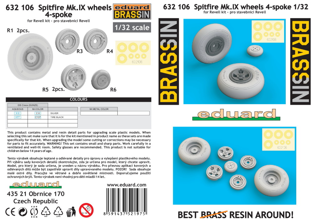 Spit_IX_4-spoke-wheels_EDUARD_03 Spitfire Mk.IX wheels 4-spoke für Revell - EDUARD 1/32