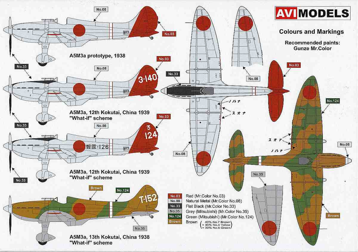"AVI-Models-72002-Mitsubishi-A5M3a-Claude-9 Mitsubishi A5M3a ""Claude"" mit Reihenmotor von AVIModels 72002"