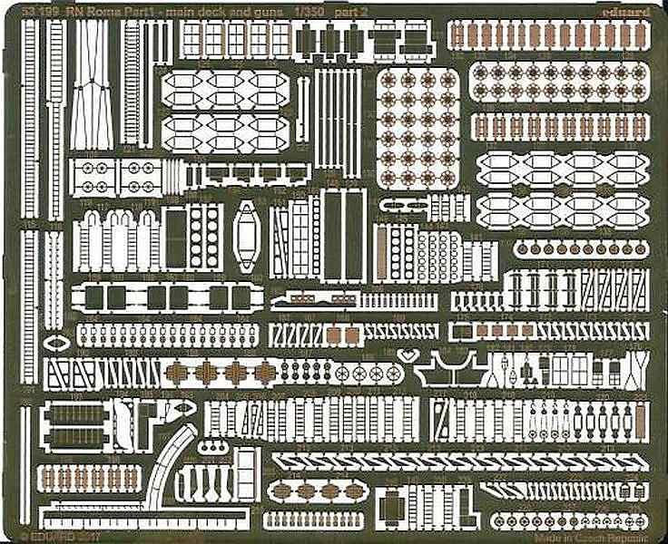 Eduard-53199-RN-Roma-Pt.1-Main-deck-and-guns-8 Photoätzteile für die ROMA von Trumpeter in 1:350 (Eduard 53199 und 53200)