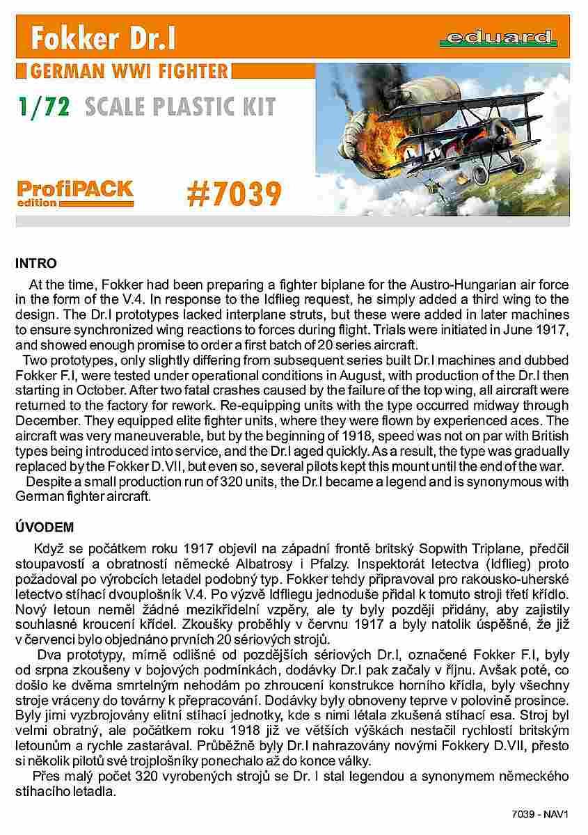 Eduard-7039-Fokker-Dr.I-Profipack-Bauanleitung-Titelblatt Fokker Dr.I Profipack von Eduard in 1:72 (# 7039)