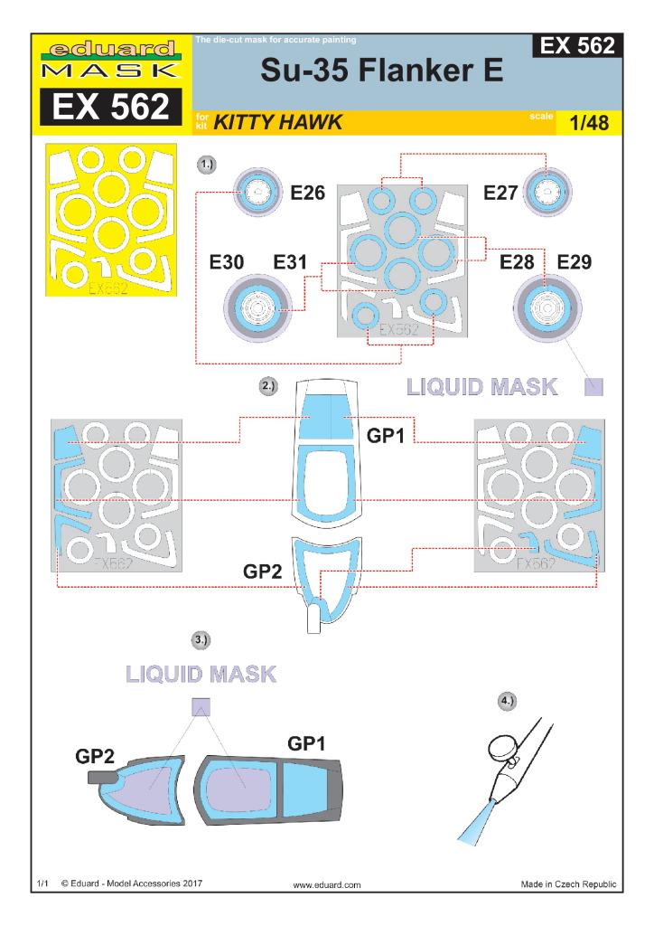 Eduard_Su-35KiHa_Mask_03 Eduard-Sets für die Su-35 Flanker E von Kitty Hawk – 1/48