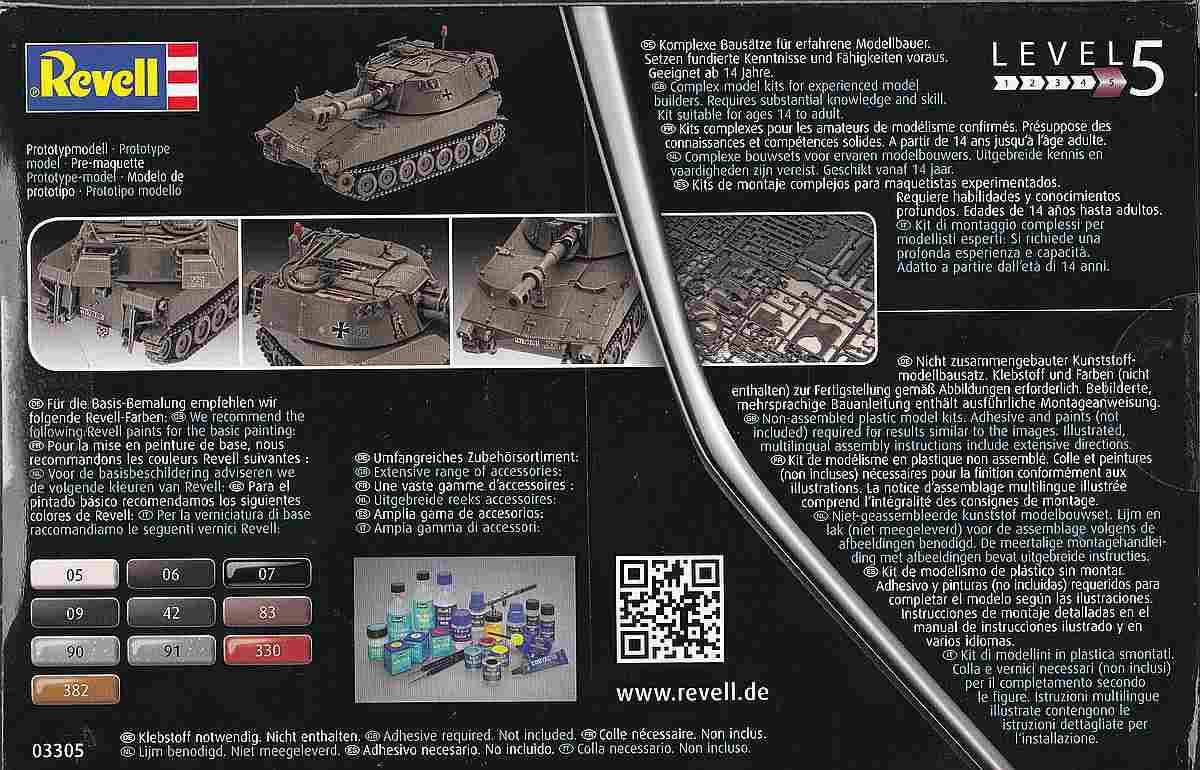 Revell-03305-M-109G-2 Panzerhaubitze M 109G in 1:72 von Revell (Art.Nr. 03305)
