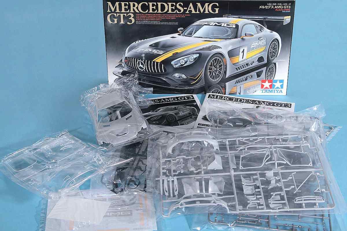 Tamiya-24345-Mercedes-AMG-GT-3-Bausatzinhalt Mercedes AMG GT 3 in 1:24 Tamiya 24345