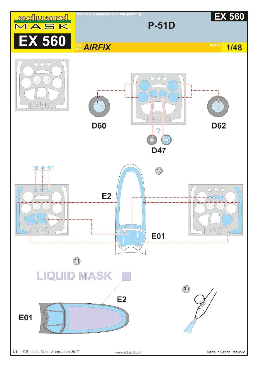 Eduard-EX-560-P-51D-Masken-Anleitung EDUARD Zubehörsets für die P-51D Mustang von Airfix in 1:48