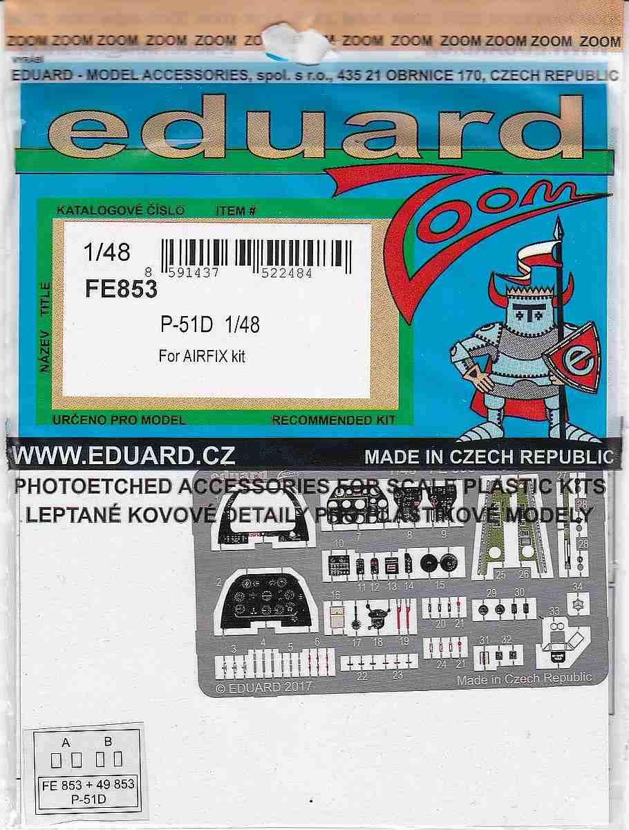 Eduard-FE-853-P-51D-ZOOM EDUARD Zubehörsets für die P-51D Mustang von Airfix in 1:48