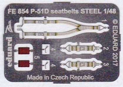 Eduard-FE-854-P-51D-Seatbelts-1 EDUARD Zubehörsets für die P-51D Mustang von Airfix in 1:48