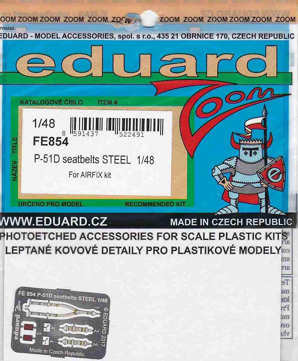 Eduard-FE-854-P-51D-Seatbelts EDUARD Zubehörsets für die P-51D Mustang von Airfix in 1:48