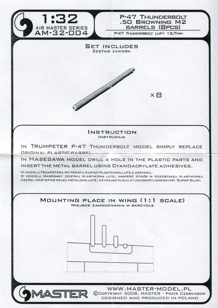 Master_P-47_Barrels_04 MG-Läufe für die P-47 in 1/32 (Hasegawa/Eduard/Trumpeter) - Master Model