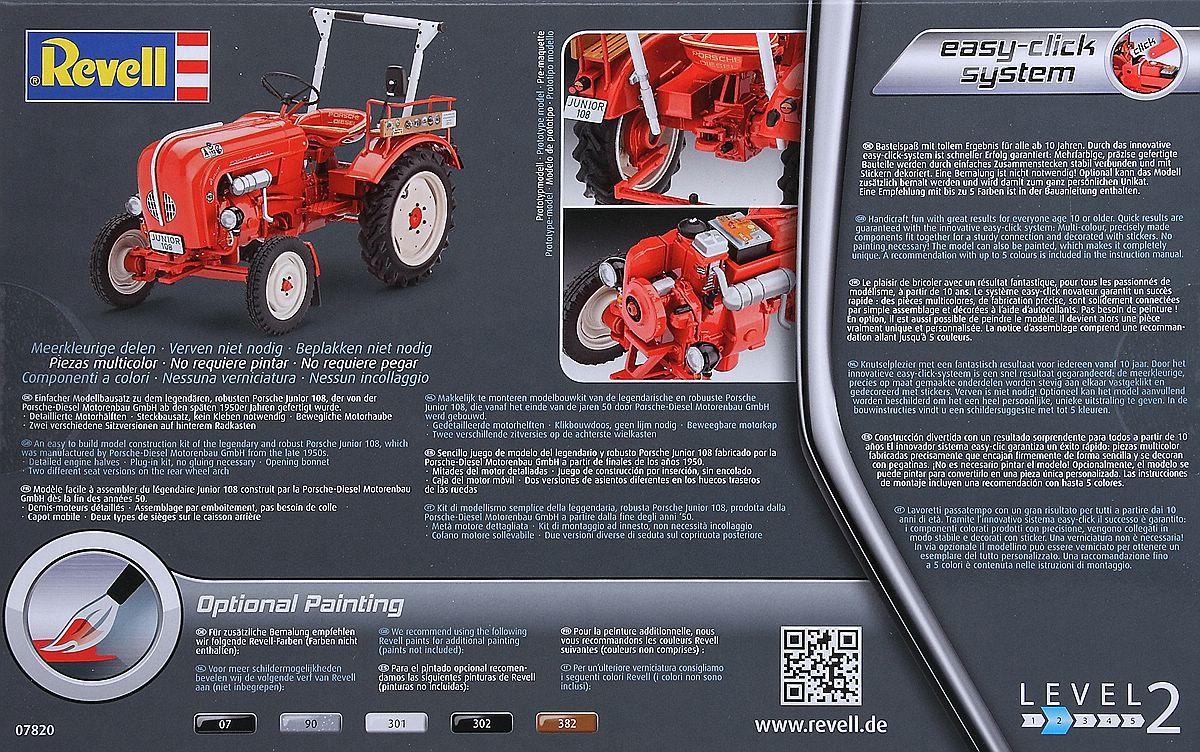 Revell-07820-Porsche-Diesel-Junior-108-Schachtelrückseite Porsche Diesel Junior 108 in 1:24 von Revell 07820
