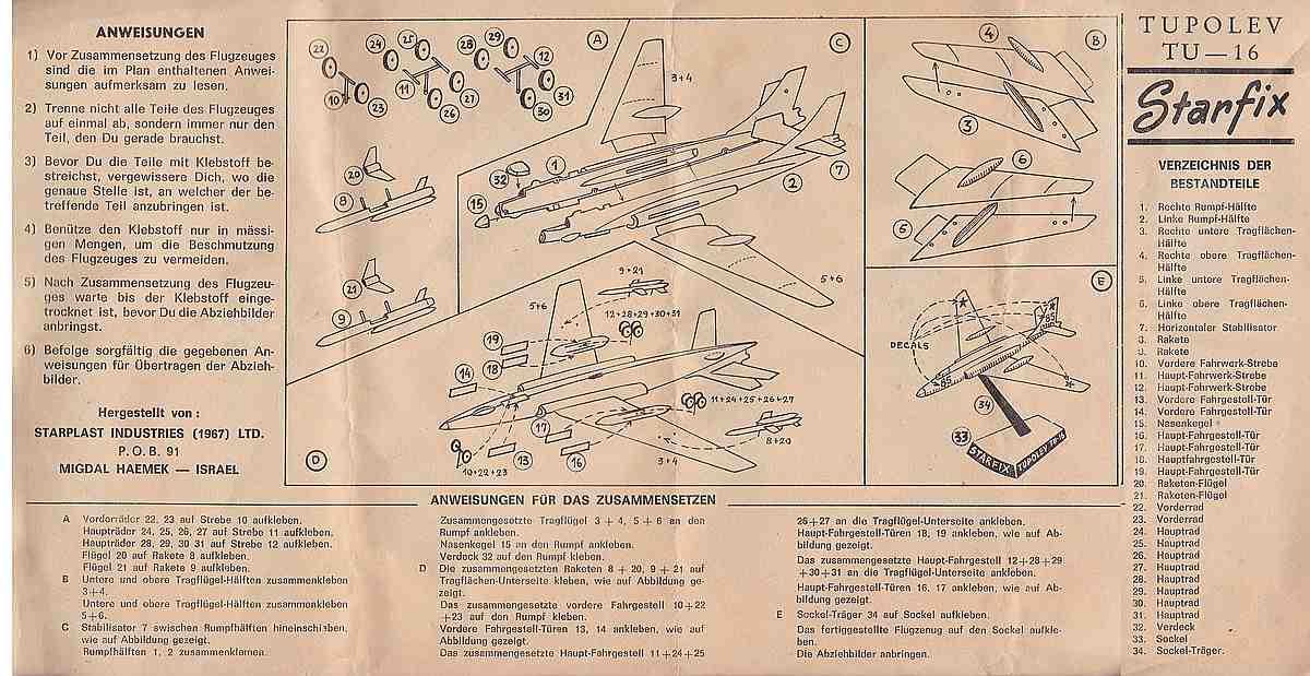 Starfix-Tupolev-TU-16-6 Kit-Archäologie - heute: Starfix Tupolev Tu-16 im Maßstab 1:200