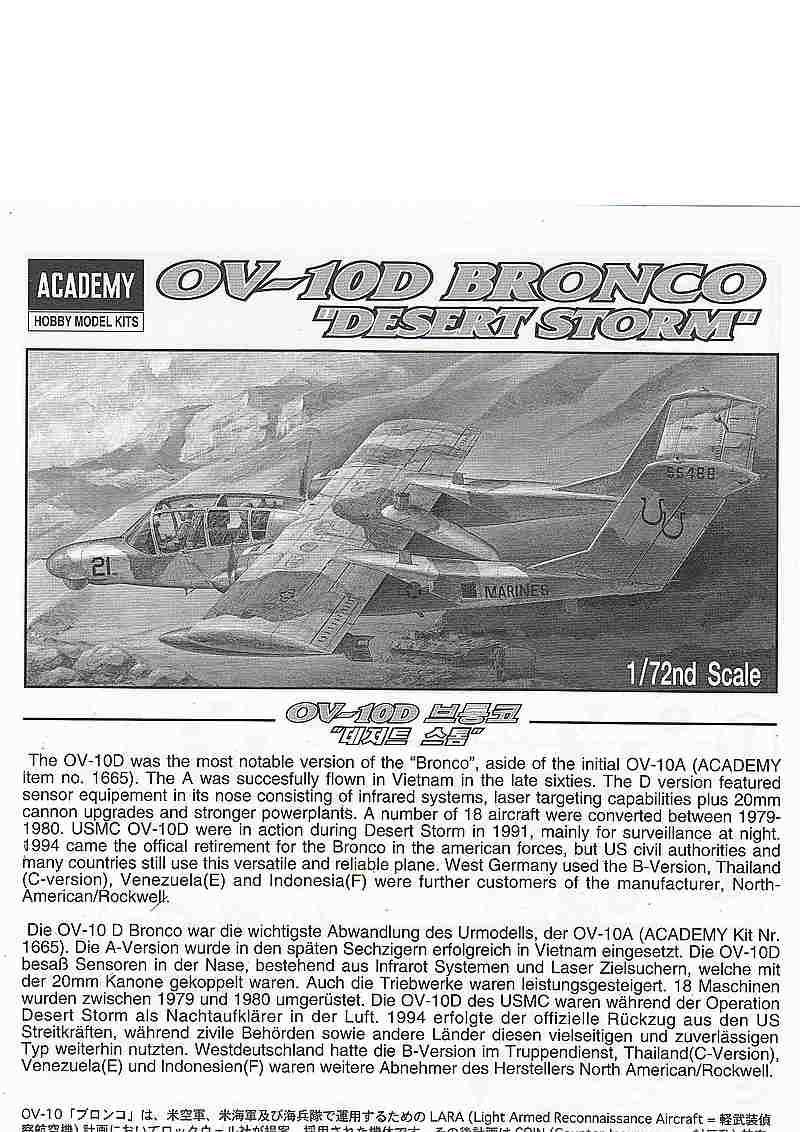 """Academy-OV-10D-Bronco-Desert-Storm-2 OV 10 D Bronco """"Desert Storm"""" in 1:72 von Academy"""