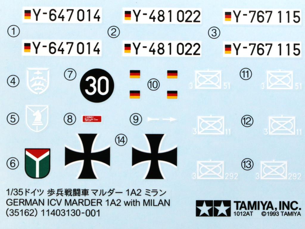 Decals-2 Schützenpanzer Marder 1A2 1:35 Tamyia #35162
