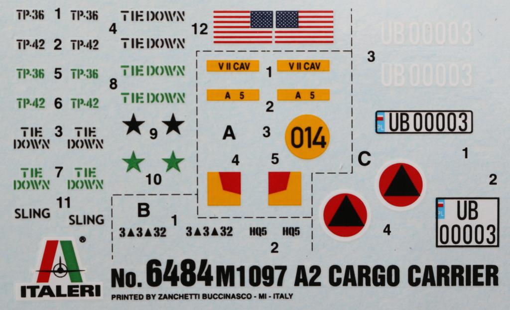Decals M1097 A2 Cargo Carrier 1:35 Italeri #6484