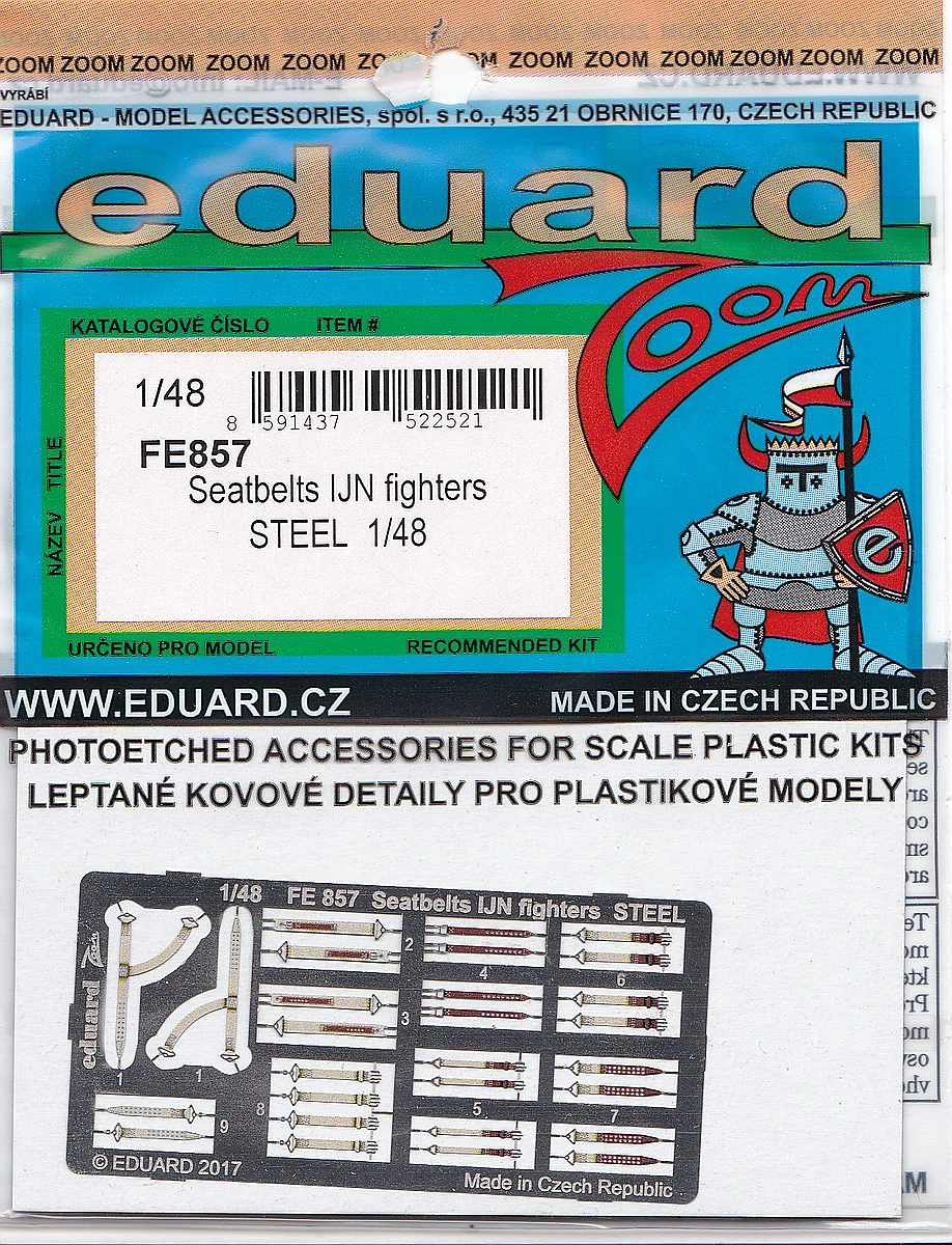 Eduard-FE-857-Seatbelts-IJN-Fighters-STEEL-1zu48-2 Seatbelts for IJN Fighters in 1:48 und 1:72 (Eduard)
