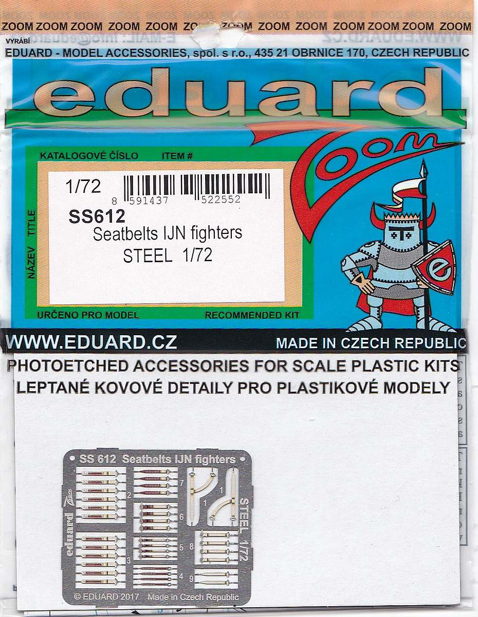 Eduard-SS-612-Seatbelts-IJN-Fighters-STEEL-1zu72-1 Seatbelts for IJN Fighters in 1:48 und 1:72 (Eduard)