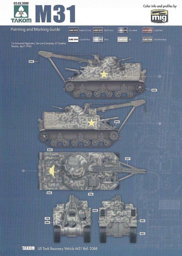 Variante1-1024 M31 U.S. Tank Recovery Vehicle 1:35 Takom #2088