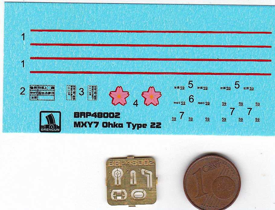 Brengun-BRP-48002-Ohka-Model-22-Decals Yokosuka MXY-7 Ohka Model 22 im Mastab 1:48 von Brengun BRP 48002